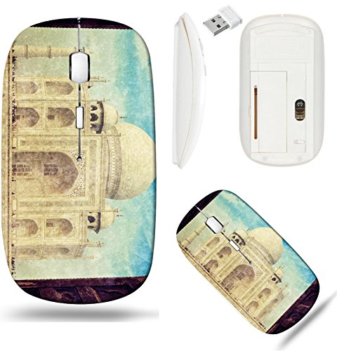 Liili Wireless Mouse White Base Travel 2.4G Wireless Mice with USB Receiver, Click with 1000 DPI for notebook, pc, laptop, computer, mac book Vintage retro hipster style travel image of Taj Mahal IMAG (Best Images Of Taj Mahal)
