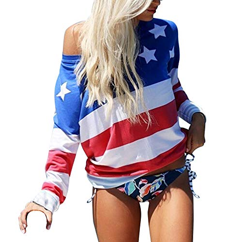 (Sanyyanlsy Women Chiffon American Flag Stars and Stripes 4Th of July T-Shirt Blouse Long Sleeve Stitching O-Neck)