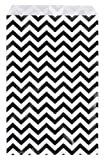 200 pcs Black Chevron Paper Gift Bags Shopping Sales Tote Bags 6'' x 9'' Black and White Zig Zag Design-Caddy Bay Collection