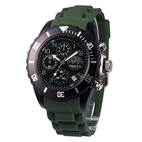 Time100 Mens Silicone Strap Sport Watch Fashion Multifunction Environmental Watches for Men Green