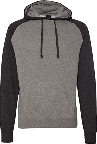 Sweater Mens Gunmetal (Independent Trading Co Raglan Hooded Sweatshirt. IND40RP Large Gunmetal Heather / Charcoal Heather)