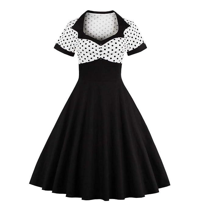 83f43267d HIKO23 Women s Short Sleeve V Neck 1950s Retro Hollywood Party Audrey  Hepburn Vintage Style Rockabilly Swing Dress at Amazon Women s Clothing  store