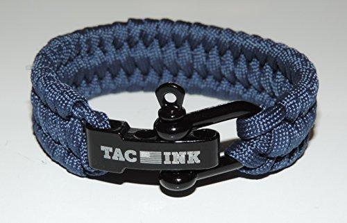 - TAC INK Paracord Survival Bracelet with Black D Shackle, adjustable for wrist sizes 6
