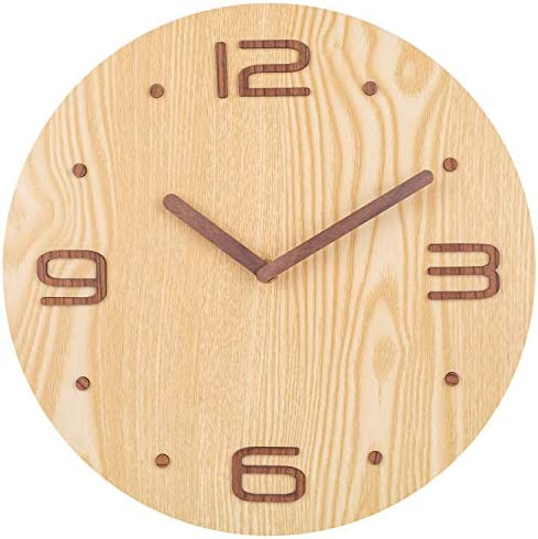 Wall Clock, Classic Analog Clock with 4 of 3D Wooden Numerals, Silent Non-Ticking Clock for Bedroom, Living Room, Kitchen, Cafe, Office – 12 Inch