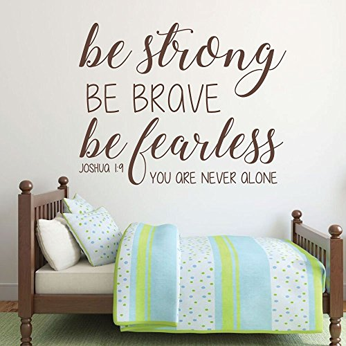 Bible Verse Wall Decal   Joshua 1 9   Be Strong Be Brave Be Fearless You Are Never Alone   Farmhouse Style Vinyl Scripture Wall Decals  Christian Home Decor  Church Wall Decals  Girls Room Wall Decals