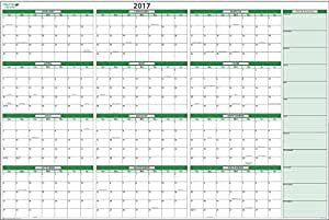 large 2017 horizontal dry erase wall calendar kit 32 in x 48 in no ghosting. Black Bedroom Furniture Sets. Home Design Ideas