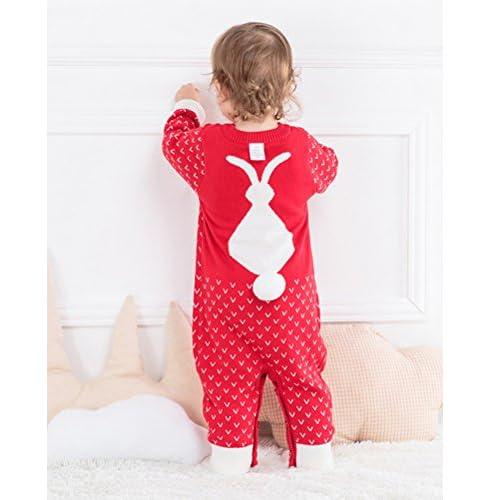 Bébé Garçon Fille Combinaison Barboteuses en Tricot Pull Manches longues Pyjamas Hiver