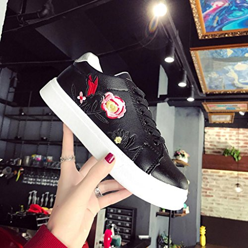 WINWINTOM 2018 Nuevo Dama Mujer Moda Deporte Correr Zapatillas Bordado Flor Zapatos Ocio Zapatos Pequeña Blanco Casual Zapatos Negro