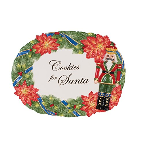 Fitz and Floyd 55-051 Christmas Nutcracker Cookie Platter, Red/Green/Blue