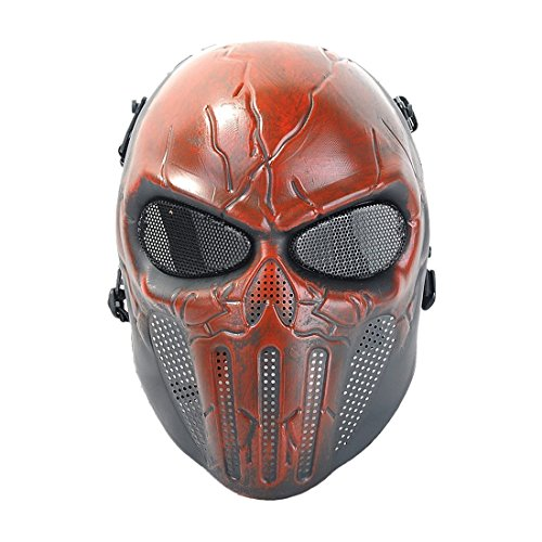 Mebarra Punisher Skeleton Mask -Paintball Full Face Protection Mask Guard Gear for Use As Tactical Mask & Airsoft and Outdoor Cs War Game Mask (Red & Black) -