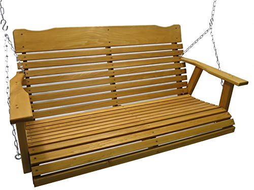 Kilmer Creek 4 Cedar Porch Swing W stained Finish, Amish Crafted – Includes Chain Springs