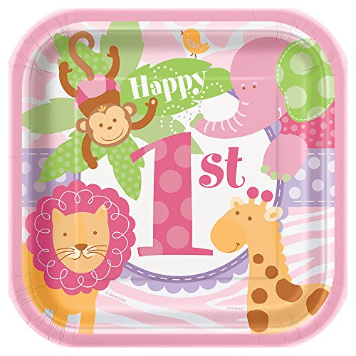 1st Birthday Girl Dessert Plate (Pink Safari First Birthday Dessert Plates, 10ct)