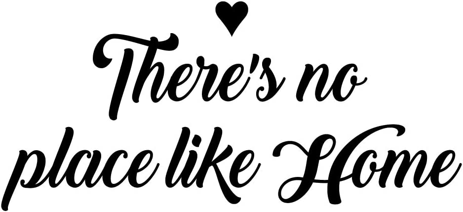 MOVANKRO There's no Place Like Home Heart Décor Vinyl Wall Decal Art Quotes Words Lettering Mural