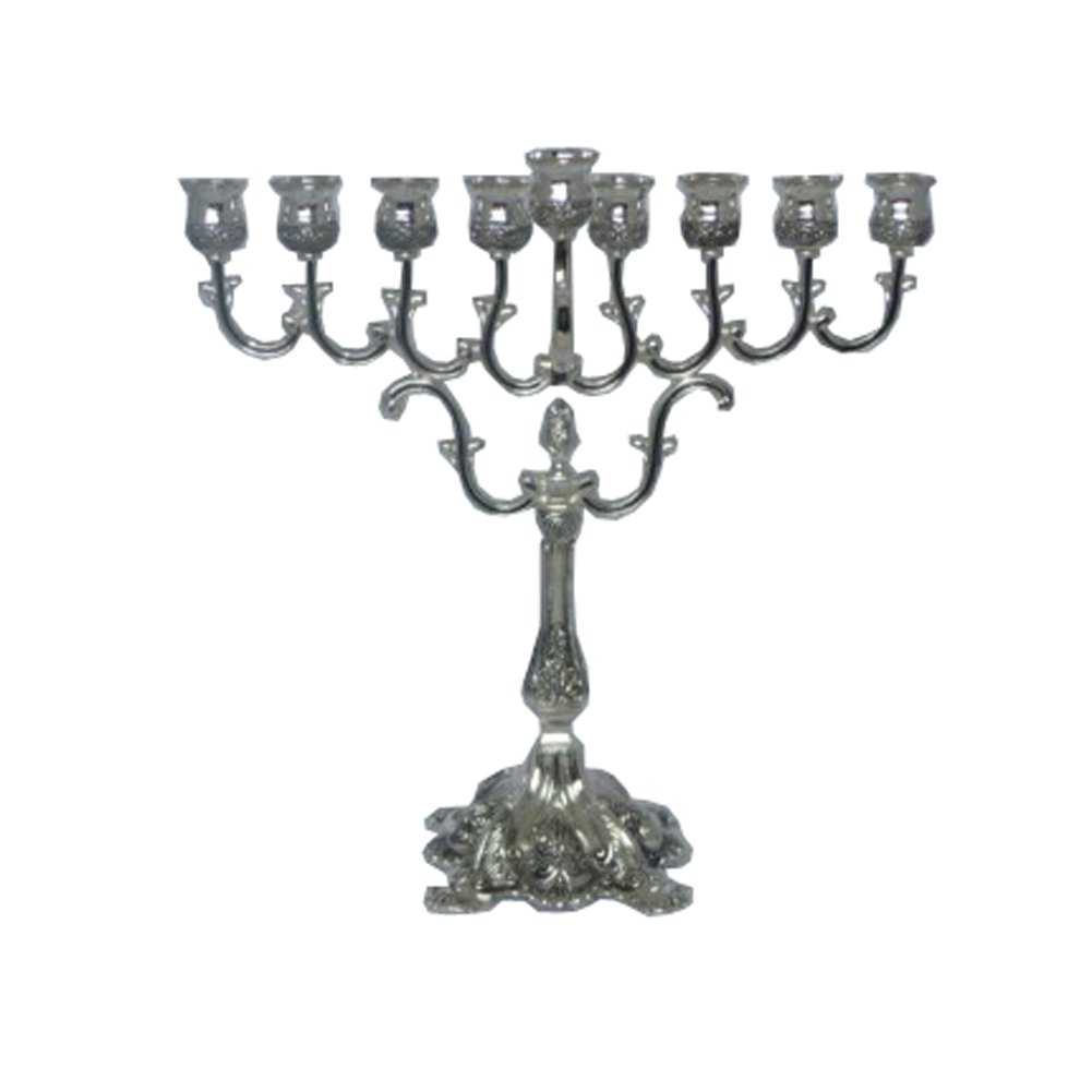 Silver Plated Antique Style Hanukkah Menorah Alef Judaica M1935