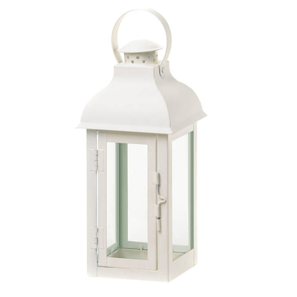 White Locomotion Gable Style Lantern Candle Holder Medium | ChristmasTablescapeDecor.com