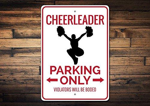- Dozili Cheerleader Parking Sign Cheerleader Sign Cheerleader Gift for Teen Room Decor Cheer Lover Gift Cheer Sign - Quality Aluminum 10