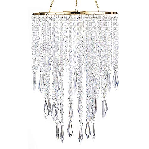 "SUNLI HOUSE Modern Mini Chandelier Shade,H12.9"" X W8.66"" Chandelier Light Fixture Sparkling Decorations for Wedding Centerpiece Lampshade with Acrylic Jewel Droplets"
