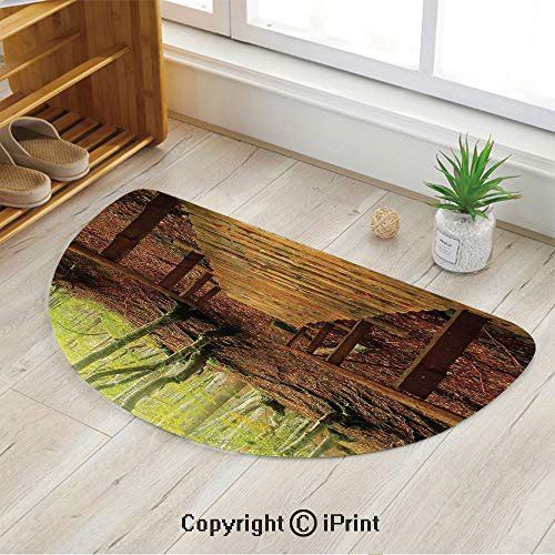 LEFEDZYLJHGO Half Circle Mat for Front Door Inside Floor Dirt Entrance Rug,Weathered Wooden Bridge Over River Leads to a Footpath Between Birch Trees in Autumn Decorative,35