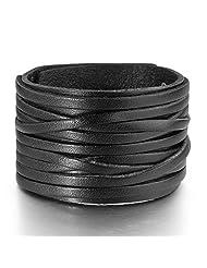 "TEMEGO Jewelry Wide Leather Bracelet, Punk Rock,Adjustable Fits 7.5""-9"", Black Silver"