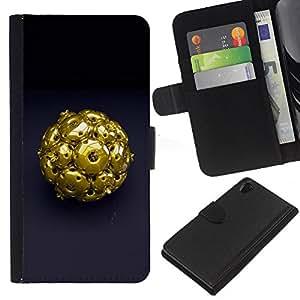Abstract Gold - la tarjeta de Crédito Slots PU Funda de cuero Monedero caso cubierta de piel Sony Xperia Z2 D6502