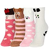 4 Pairs Fuzzy Fluffy Socks Women Girls FAYBOX 5D Cute Cartoon Animals Slipper Sleeping Winter Warm Thermal Microfiber Crew Socks Holiday Gifts
