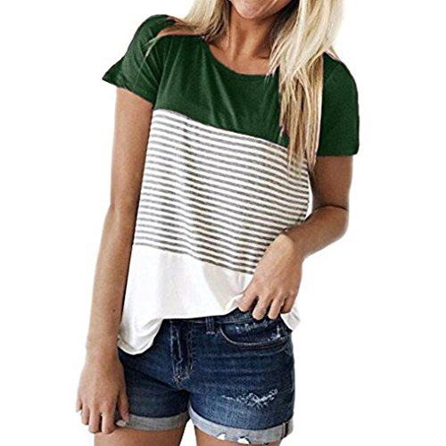CUCUHAM Women Short Sleeve Triple Color Block Stripe T-Shirt Casual Blouse (S, Green)