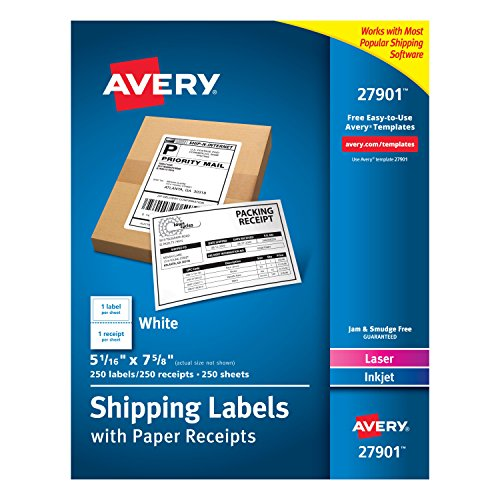 Industries Shipping Labels - Avery White Shipping Labels with Paper Receipts, 5-1/16