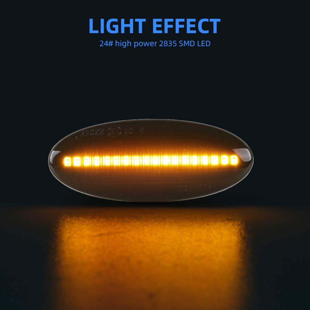 1 paio OZ-LAMPE LED Luci laterali Indicatori di direzione laterali per Nissa-n Cube Juke Leaf Micra K12//K13 Note E11 Qashqai J10 X-trail T31 lente trasparente