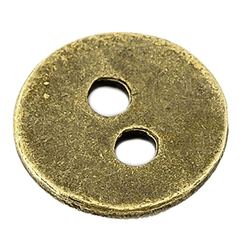 [HOUSWEETY 100PCs Bronze Tone 2 Holes Sewing Metal Buttons 11mm(3/8