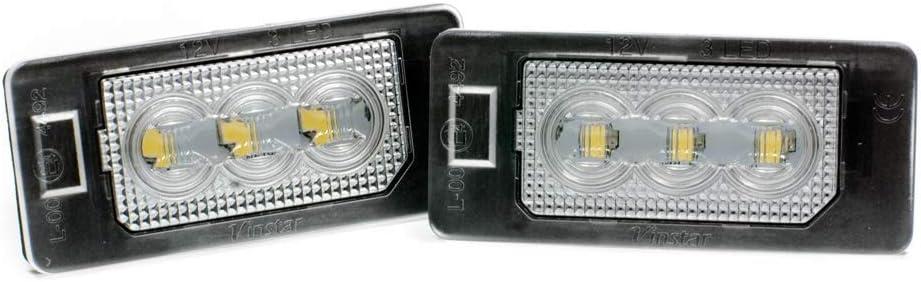 2 x LED Kennzeichen-beleuchtung Nummernschild-Leuchten Lampe Xenon
