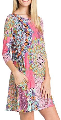 Dress AU QianQian Damask Side Print Long Leeve Shirt T 4 Women Pockets Z11xa