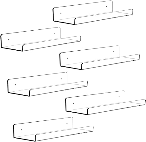 15 L,Set of 4 Invisible Spice Rack Wall Mounted Nursery Kids Bookshelf Cq acrylic 15 Invisible Acrylic Floating Wall Ledge Shelf Clear 5MM Thick Bathroom Storage Shelves Display Organizer