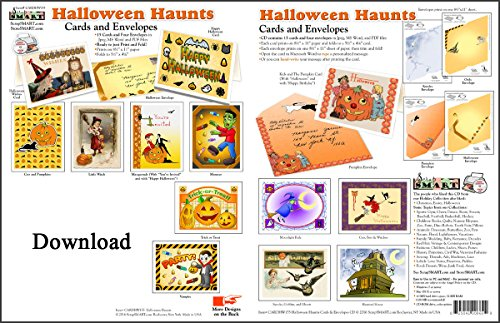 ScrapSMART - Halloween Haunts Cards & Envelopes - Software Collection - Jpeg, MS Word, and PDF files for Mac -