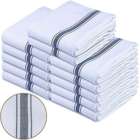 SPCIAL White Cotton Dish Towels LOT 12 Pack Utopia Kitchen Home Hotel & Restaurant Set (Wedgewood Pendant)