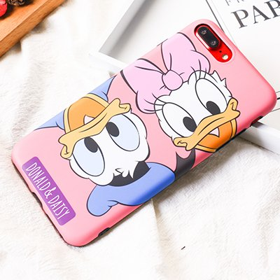 Ultra Slim Soft TPU Pink Donald Daisy Duck Case for iPhone 7Plus 8Plus 7+ 8+ Shockproof Glittery Bling Glitter Shiny Smooth Disney Cartoon Cute Chic Lovely Stylish Special Cool Girls -