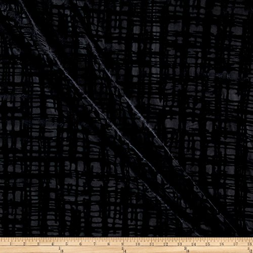 Burnout Fabric - TELIO Gridiron Stretch Velvet Burnout Geo Fabric by the Yard, Black