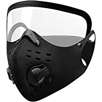 Face_Mask with Eye Shield Protection, With Breathing Valve, Anti-Spitting Splash Facial Cover For Running Outdoor…