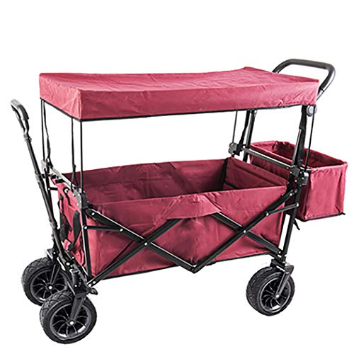 GAIBO Garden Cart Folding with Wheels and Carrying Case, Beach Cart Portable Lightweight,for All terrains (Load Bearing 80kg/176 lbs),Wine red