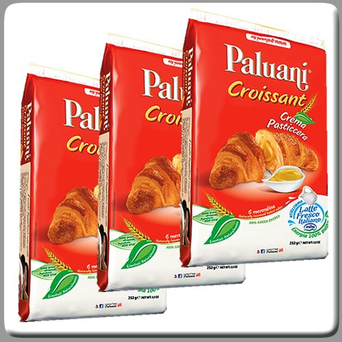 Paluani Croissants Filled with Pastry Cream 6x1.5 Oz Individual Bags (Pack of 3) by Paluani