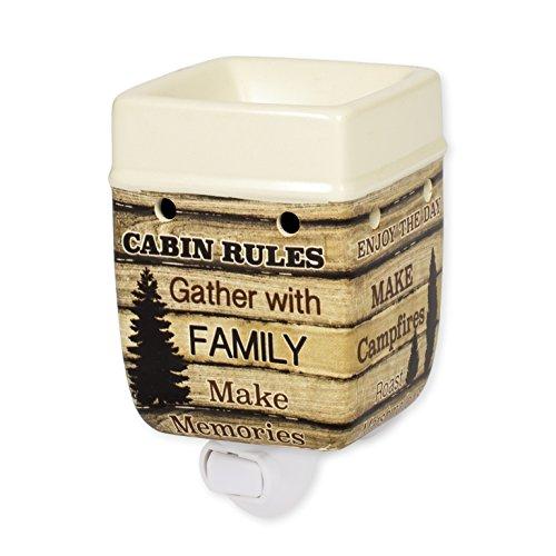 Cabin Rules Rustic Wood Outdoor Design Cream Ceramic Stone Plug-in ()