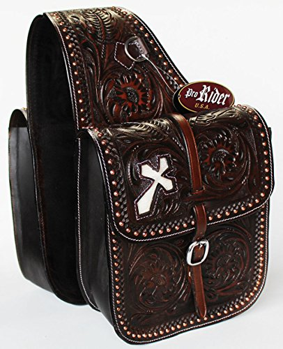 Hand Tooled Saddle (WESTERN HORSE SADDLE BAG MOTORCYCLE BAGS HAND TOOLED BROWN LEATHER FREE SH 10211)