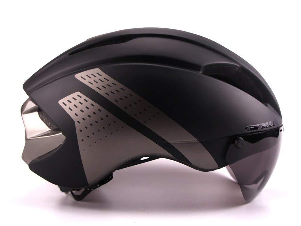 サイクリング自転車用ヘルメット CAIRBULL自転車用ヘルメット一体成形空力MTB自転車用ヘルメット屋外スポーツ用サイクリングヘルメット、ゴーグル スポーツ用保護ヘルメット (色 : Black, サイズ : Large) B07MSFFJL7