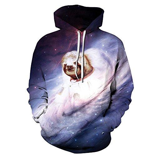 (Unisex Realistic 3d Print Galaxy Pullover Hoodie Hooded Sweatshirt (Small/Medium, Sloth))