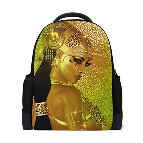 Backpack Egyptian Magic Goddess In Gold Jewelry Costume Personalized Shoulders Bag Classic Lightweight Daypack for Men/Women/Students -