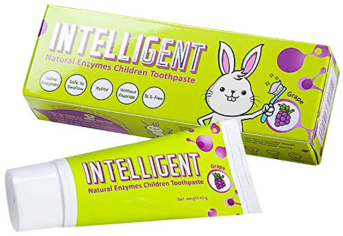 INTELLIGENT Natural Saliva-Enzymes Kids Toothpaste - Premium Children's Toothpaste - Fluoride Free, Safe to Swallow, Fights Plaque and Tartar - White Healthy Teeth, 2 pcs x 1.37 oz, Grape flavor