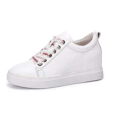 Zapatos De Mujer De Cuero De Otoño Casual Zapatos De Tacón Alto Carta De Encaje Aumento Dentro De Pequeños Zapatos Blancos Mujer: Amazon.es: Zapatos y ...