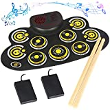 Electronic Drum Set Electronic Roll Up Practice Drum Pad Portable Drum Kit with Built in Speakers Foot Pedals,Drum Sticks,13Hours Playtime Birthday Gift for Beginners &Kids