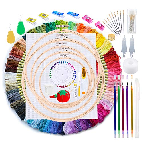 Jupean Embroidery Kit, 211 Pcs Embroidery Starter Kit with Instructions, 100 Colors Threads, Embroidery Floss and Embroidery Hoops, Sewing Pins, Cross Stitch Tools for Embroidery Beginners