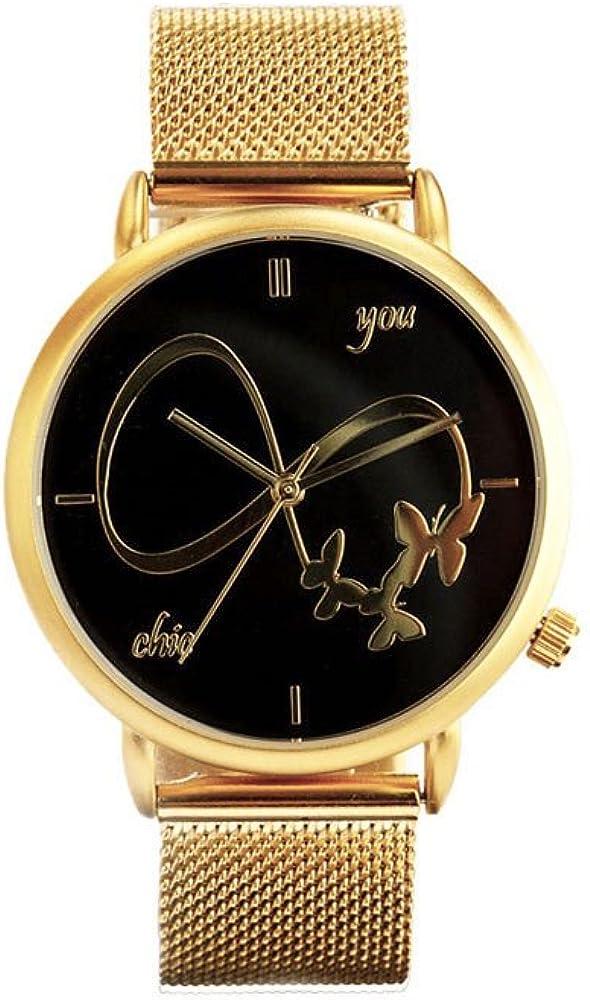 Reloj de Mujer Golden Luxury by Chic You: Movimiento de Cuarzo Miyota, con Correa de Acero Inoxidable Color Oro y Esfera Negra con índices en Dorado y manecillas en Dorado. Infinito Grande en Relieve