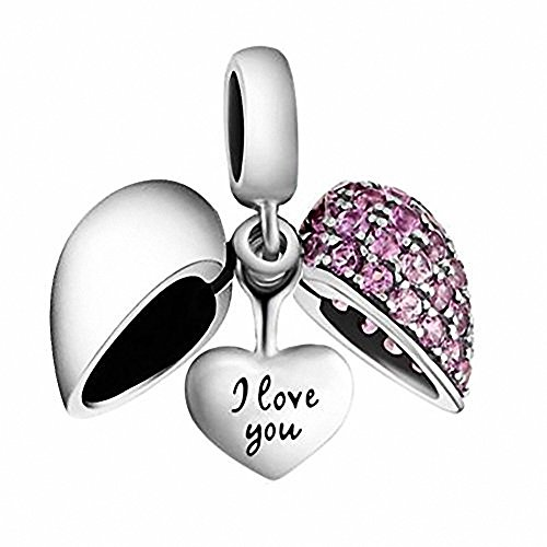 Silver Bead Heart Sterling European (I Love You Heart Charm Bead Crystal 925 Sterling Silver for European Charms Bracelet, Xmas,Anniversary Gifts (Fushcia -1))